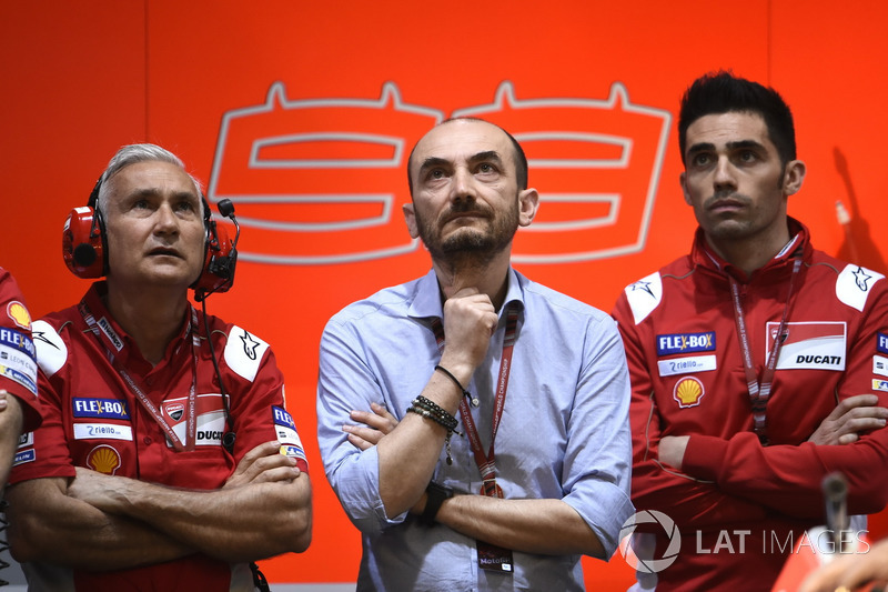 Davide Tardozzi, Team manager Ducati Team, Claudio Domenicali, CEO Ducati, Michele Pirro, Ducati Team
