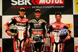 Podium: vainqueur Jonathan Rea, Kawasaki Racing, deuxième place Chaz Davies, Ducati Team, toisième place Marco Melandri, Ducati Team