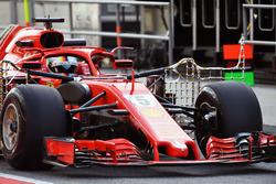 Sebastian Vettel, Ferrari SF71H, avec des capteurs aérodynamiques