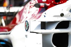 An Alfa Romeo logo on a Sauber