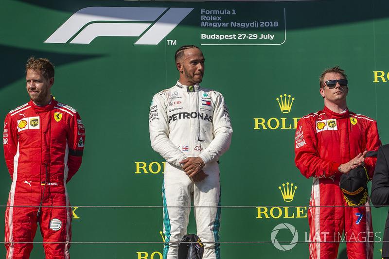 Hongrie - Podium : Lewis Hamilton, Sebastian Vettel, Kimi Räikkönen