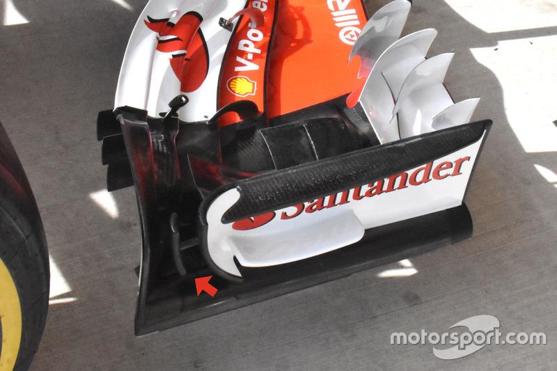Detalle del alerón delantero del Ferrari SF70H