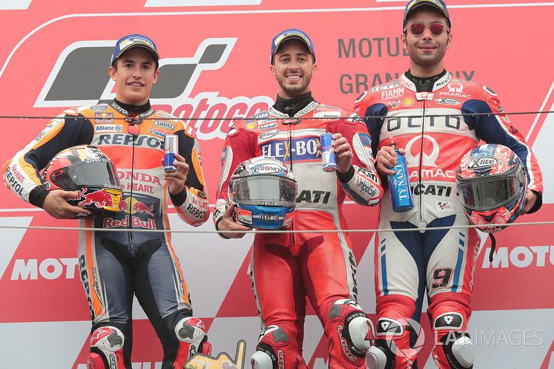 Podio: 1º Andrea Dovizioso, 2º Marc Marquez, 3º Danilo Petrucci