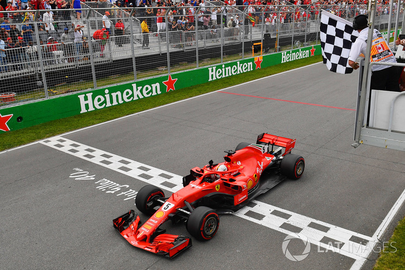 Sebastian Vettel, Ferrari SF71H menangi balapan