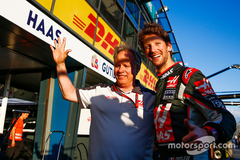 Gene Haas, Haas Automotion President celebrates sixth placed on the team's debut for Romain Grosjean, Haas F1 Team