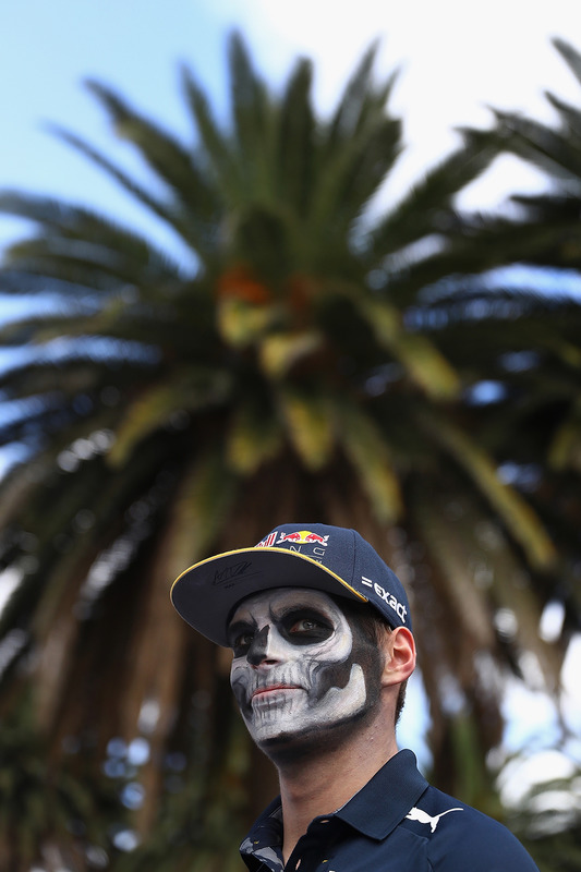 Max Verstappen, Red Bull Racing stands in the Paddock with full Dia de Muertos face paint