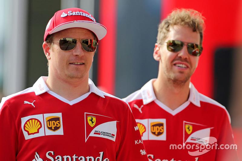 Kimi Räikkönen, Scuderia Ferrari; Sebastian Vettel, Scuderia Ferrari