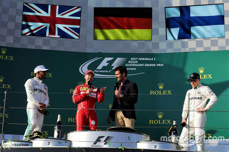 Podium: winner Sebastian Vettel, Ferrari, second place Lewis Hamilton, Mercedes AMG F1, third place Valtteri Bottas, Mercedes AMG F1, Mark Webber