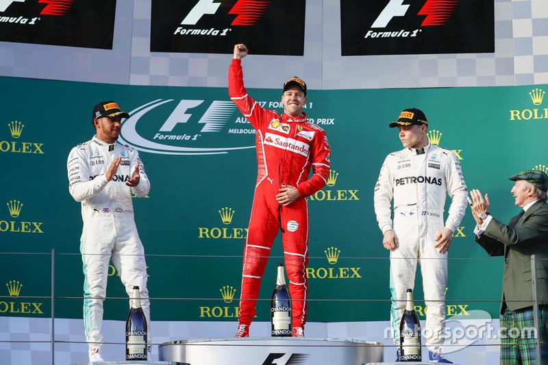 2017. Подіум: 1. Себастьян Феттель, Ferrari. 2. Льюіс Хемілтон, Mercedes. 3. Валттері Боттас, Mercedes