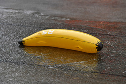 Inflatable banana floats in pit lane