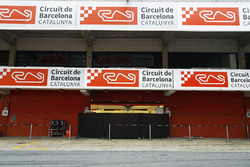 The pit lane and garage at the Circuit de Catalunya