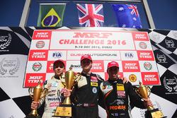 Podium race 3: winner Harrison Newey, second place Felipe Drugovich, third place Joey Mawson