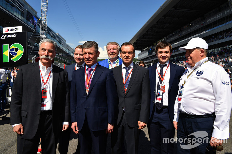 Chase Carey, Chief Executive Officer and Executive Chairman of the Formula One Group, Dmitry Kozak, Deputy Prime Minister of the Russian Federation, Veniamin Kondrytyev, Governor of Krasnodar Region and Sergey Vorobyev, Sochi Autodrom Deputy General Director