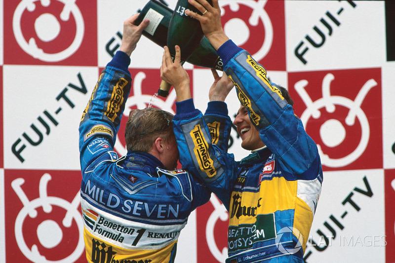 1995: 1. Michael Schumacher, 2. Mika Hakkinen, 3. Johnny Herbert