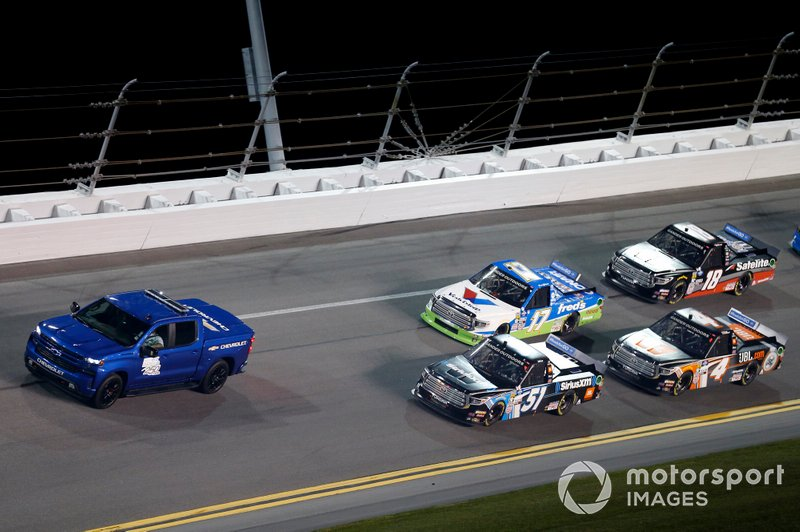 Chevrolet Pace Truck Christian Eckes, Kyle Busch Motorsports, Toyota Tundra SiriusXM, David Gilliland, DGR-Crosley, Toyota Tundra fred's, Todd Gilliland, Kyle Busch Motorsports, Toyota Tundra JBL, Harrison Burton, Kyle Busch Motorsports, Toyota Tundra Safelite AutoGlass