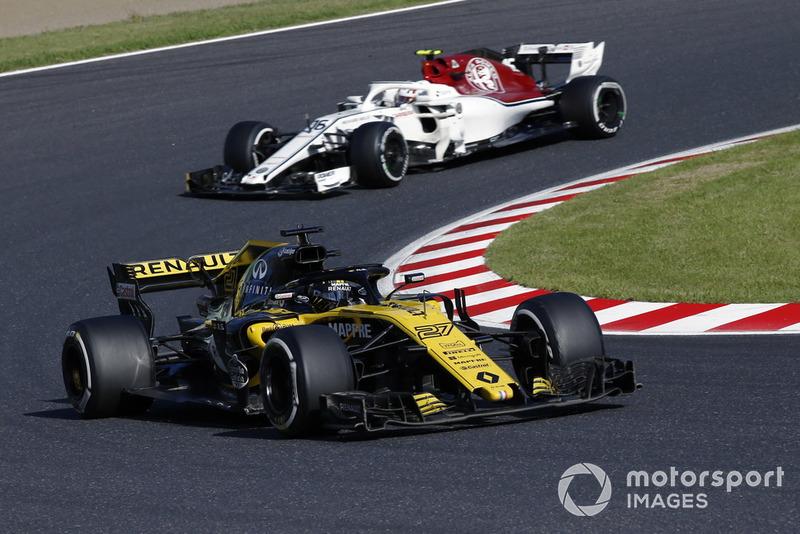 Nico Hulkenberg, Renault Sport F1 Team R.S. 18 leads Charles Leclerc, Sauber C37