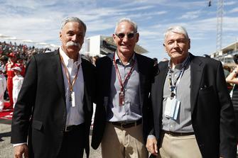 John Malone, Chairman, Greg Maffei, Liberty Media, Presidente e CEO, Liberty Media, e Chase Carey, Chairman, Formula One