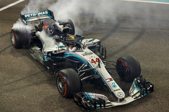 Lewis Hamilton, Mercedes AMG F1 W09 EQ Power+, 1st position, celebrates with donuts after the race