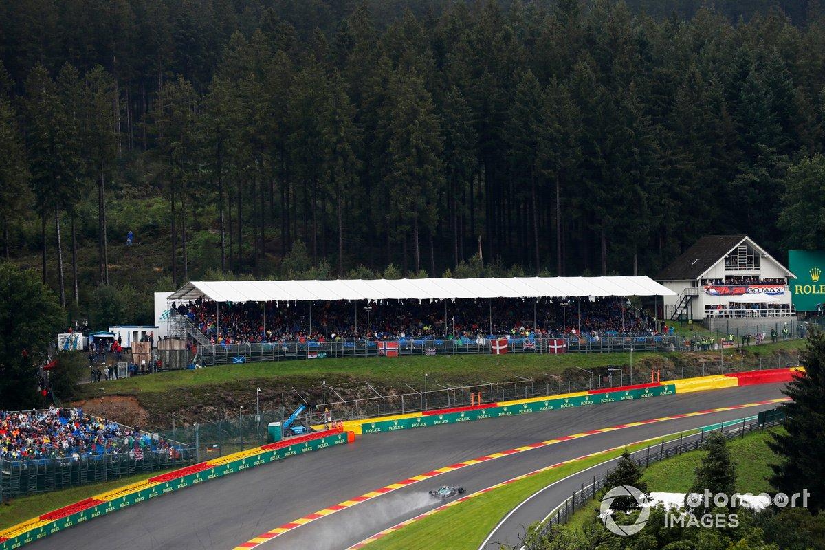 Sebastian Vettel, Aston Martin AMR21, passes the fans in the grandstands