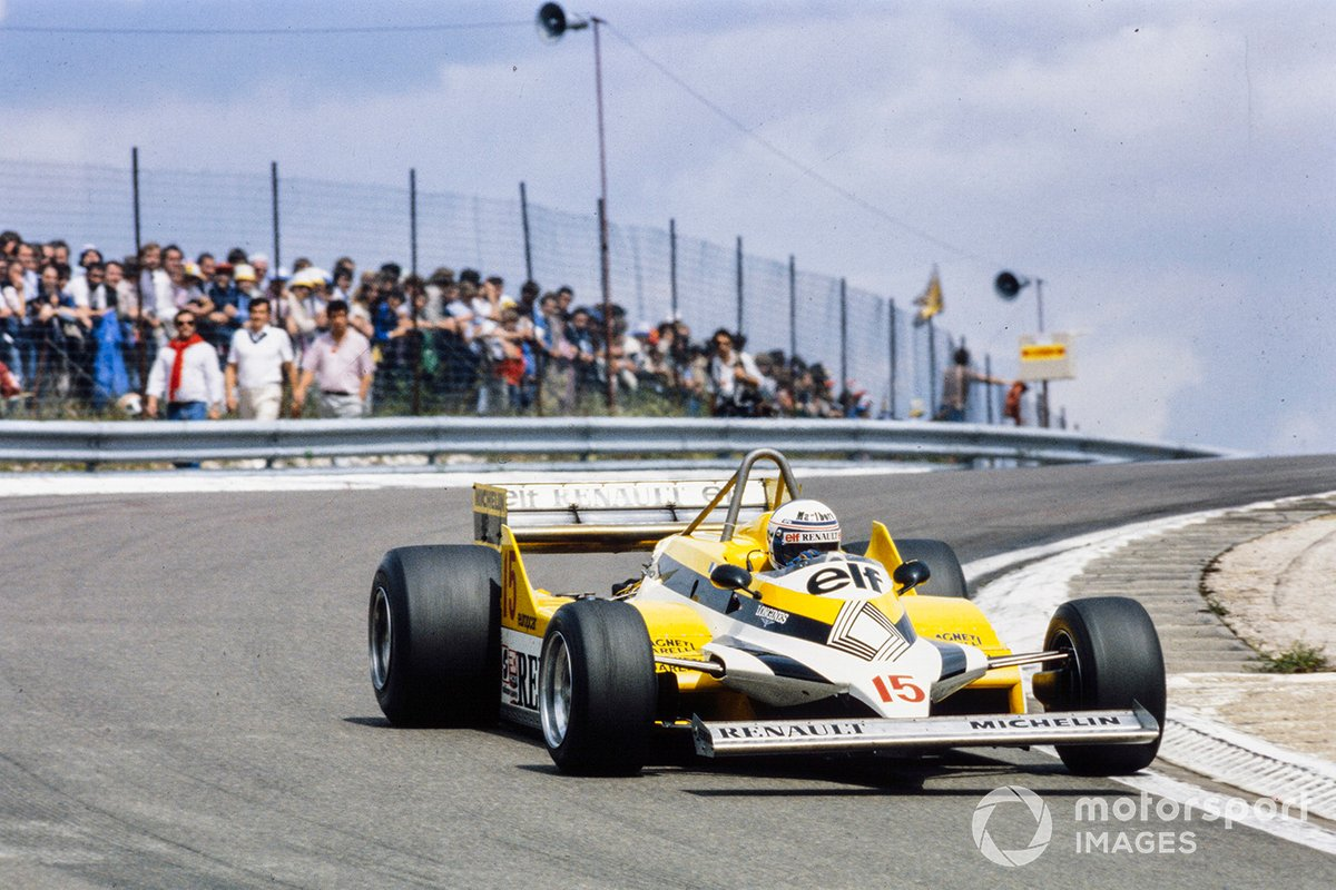 Alain Prost in his Renault RE30 on his way to his first GP win at Dijon-Prenois, France.