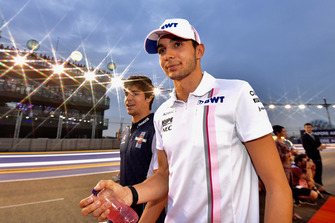 Esteban Ocon, Racing Point Force India F1 Team and Lance Stroll, Williams Racing on drivers parade