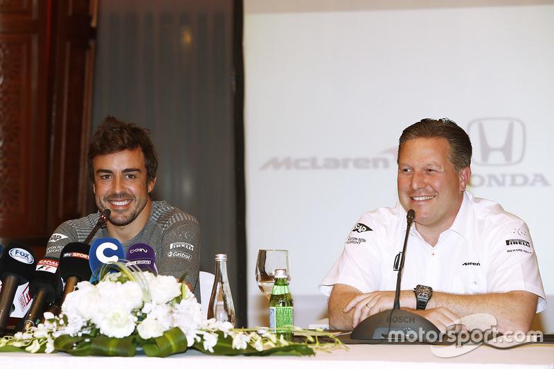 Fernando Alonso and Zak Brown, Executive Director, McLaren Technology Group, announce Fernando's deal to race in the 2017 Indianapolis 500 in an Andretti Autosport run McLaren Honda car