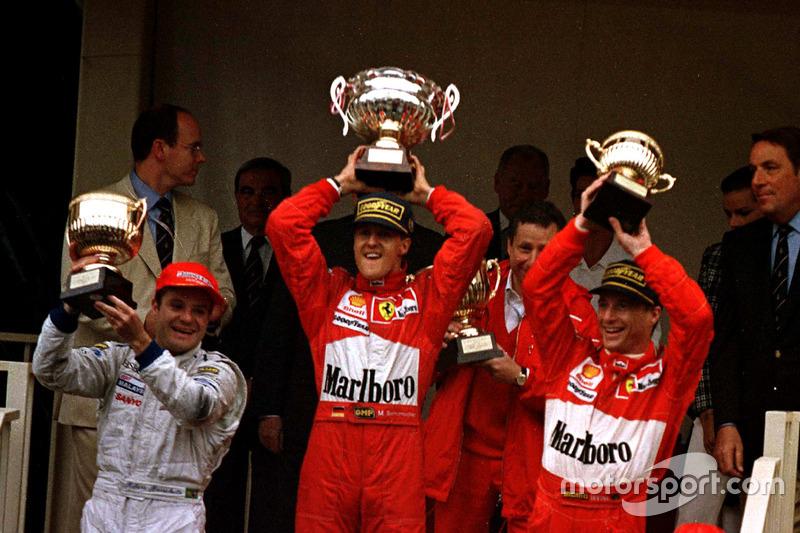 Após saída da Jordan, Rubens Barrichello foi para a nova equipe Stewart em 1997. E, apesar de sofrer com a falta de confiabilidade do carro, conquistou o primeiro pódio do time no chuvoso GP de Mônaco, no 2º lugar.