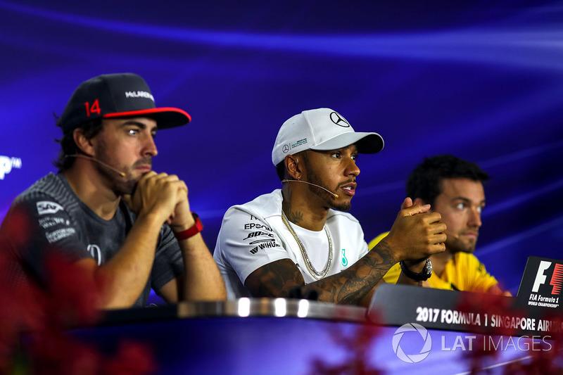 Pressekonferenz: Fernando Alonso, McLaren, Lewis Hamilton, Mercedes AMG F1 und Jolyon Palmer, Renaul
