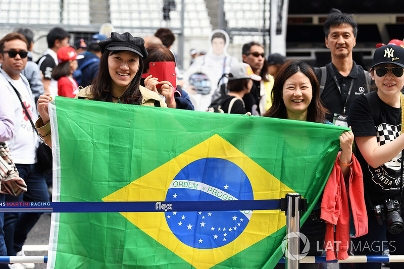 Fans with Brazilian flag
