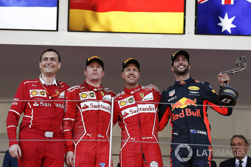 Monaco GP: Yarış galibi Sebastian Vettel, Ferrari, 2. Kimi Raikkonen, Ferrari, 3. Daniel Ricciardo, Red Bull Racing