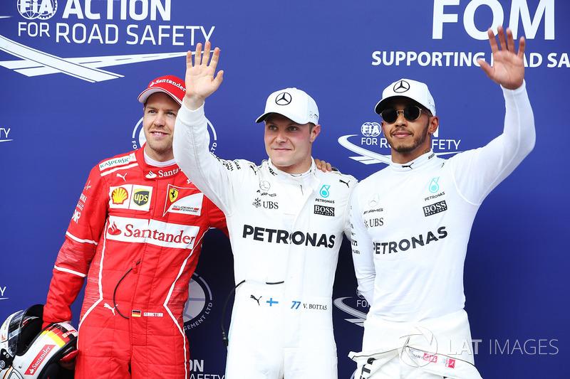 Qualifying Top 3: polesitter Valtteri Bottas, Mercedes AMG F1, second place Sebastian Vettel, Ferrari, third place Lewis Hamilton, Mercedes AMG F1