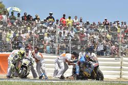 Chute de Jack Miller, Estrella Galicia 0,0 Marc VDS, et Alvaro Bautista, Aspar Racing Team