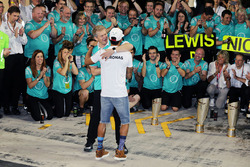 Lewis Hamilton, Mercedes AMG F1 celebrates with Thomas Weber, Member of the Board of Management of D
