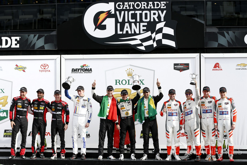 Victory lane, P: Winners #5 Action Express Racing Cadillac DPi: Joao Barbosa, Filipe Albuquerque, Christian Fittipaldi, second place #31 Action Express Racing Cadillac DPi: Felipe Nasr, Eric Curran, Mike Conway, Stuart Middleton, third place #54 CORE autos