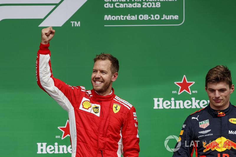 Sebastian Vettel, Ferrari, 1st position, celebrates alongside Max Verstappen, Red Bull Racing, 3rd position, on the podium