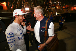 Pierre Gasly, Toro Rosso, is congratulated on a good result by Helmut Markko, Consultant, Red Bull Racing
