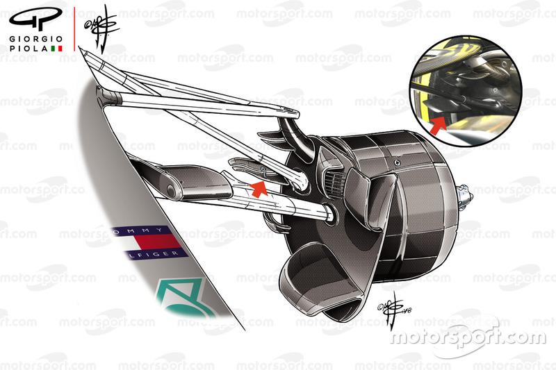 Ailettes des écopes de freins avant de la Mercedes W09, GP de France