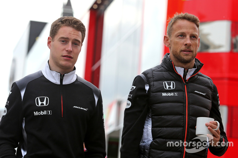 Stoffel Vandoorne, third driver, McLaren F1 Team and Jenson Button, McLaren Honda