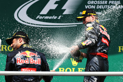 Podium: tweede plaats Daniel Ricciardo, Red Bull Racing, derde plaats Max Verstappen, Red Bull Racin