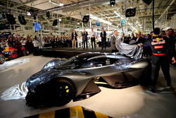 Adrian Newey, the Chief Technical Officer of Red Bull Racing, Daniel Ricciardo of Australia and Red Bull Racing, and Marek Reichman- Executive Vice President & Chief Creative Officer, Aston Martin Lagonda Ltd reveal the AMRB 001 at the Aston Martin and Red Bull Racing Project AMRB 001 Unveil