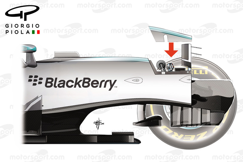 Mercedes W07 opened chassis, side view