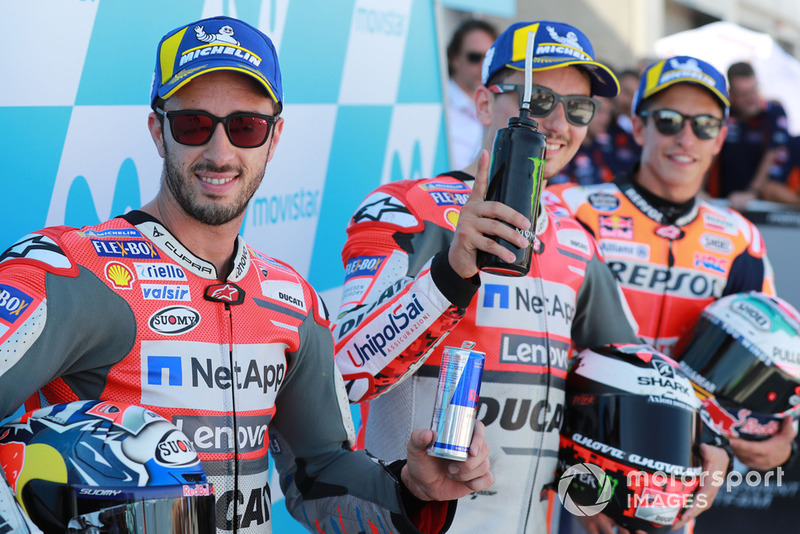 Ganador de la pole Jorge Lorenzo, Ducati Team, segundo Andrea Dovizioso, tercero Marc Márquez