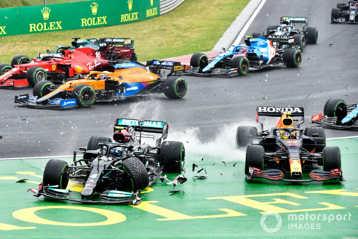 Turn 1 incidents at the 2021 Hungarian GP