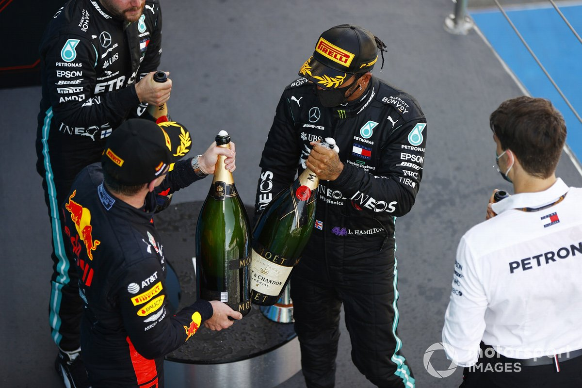 Valtteri Bottas, Mercedes-AMG Petronas F1, 3rd position, Max Verstappen, Red Bull Racing, 2nd position, Lewis Hamilton, Mercedes-AMG Petronas F1, 1st position, on the podium