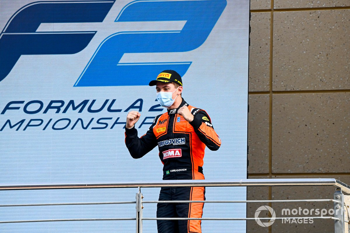 Race Winner Felipe Drugovich, MP Motorsport celebrates on the podium