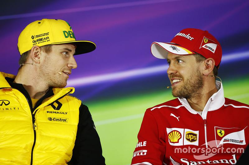 Nico Hulkenberg, Renault Sport F1 Team, Sebastian Vettel, Ferrari