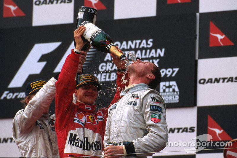 1997: 1. David Coulthard, 2. Michael Schumacher, 3. Mika Häkkinen