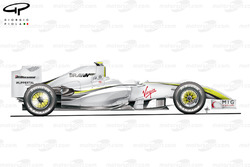 Brawn BGP 001 2009 Monaco side view