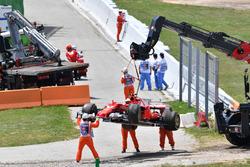 Auto von Kimi Räikkönen, Ferrari SF70H nach Ausfall