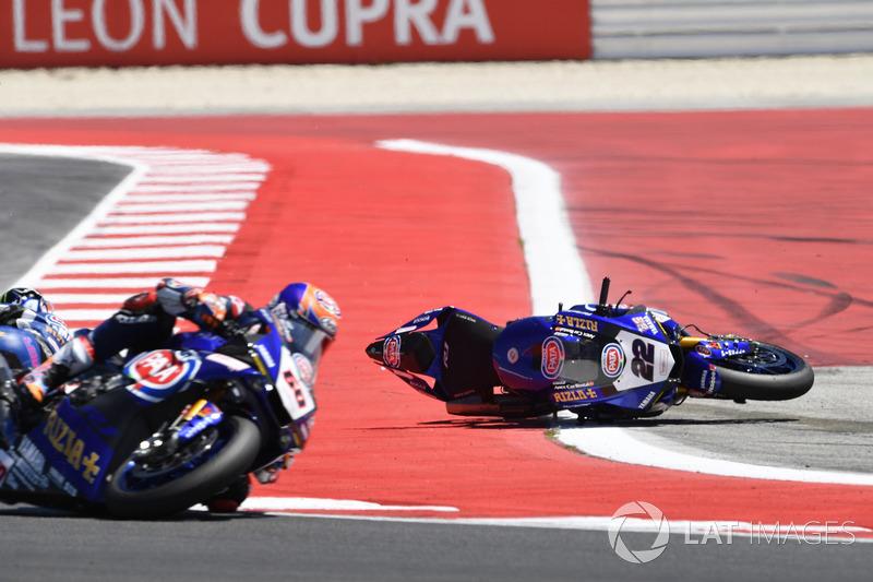 Crash: Alex Lowes, Pata Yamaha